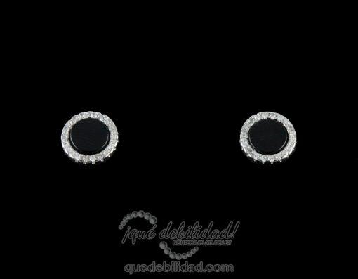Pendientes de plata redondos nácar-ónix con borde de circonitas blancas