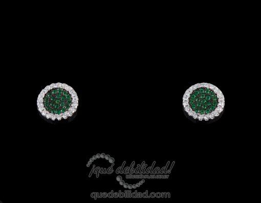 Pendientes de plata redondos borde circonitas verde