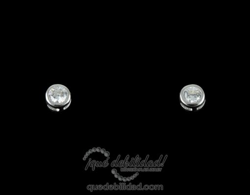 Pendientes de plata redondos chatón grande circonita