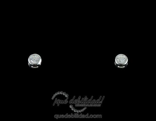 Pendientes de plata chatón pequeño circonita blanca