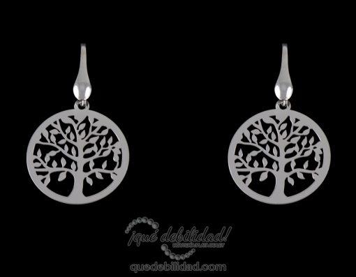 Pendientes de plata rodiada árbol de la vida plateados
