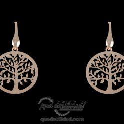 Pendientes de plata rodiada árbol de la vida oro rosa