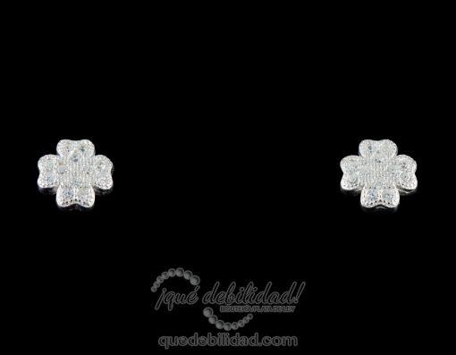 Pendientes de plata con trebol circonitas blancas