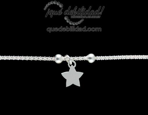 Pulsera de plata estrella colgante