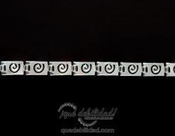 Pulsera de plata con eslabon espiral plano y rectangular