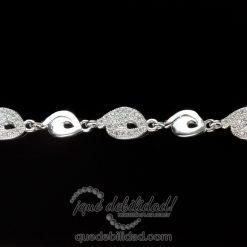 Pulsera de plata con espirales circonitas y lisos