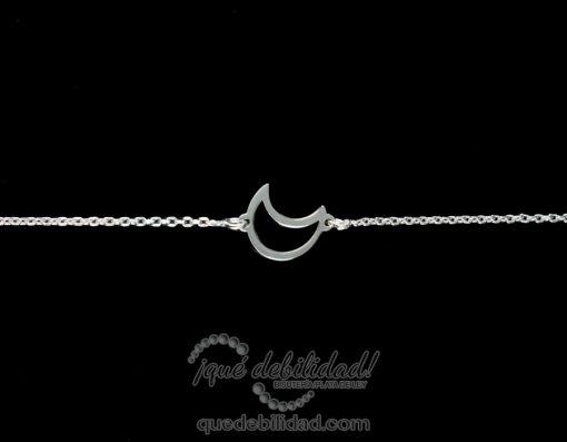 Pulsera de plata con motivo de silueta luna central