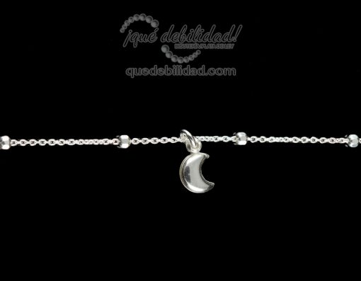 Tobillera de plata con colgante luna